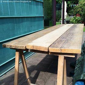 Upcycling Diy Tisch Aus Alten Gerustdielen Holztisch Garten