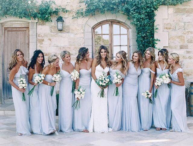 Different Styles Same Colour Wedding Bridesmaid Dresses Bridesmaid Blue Bridesmaid Dresses