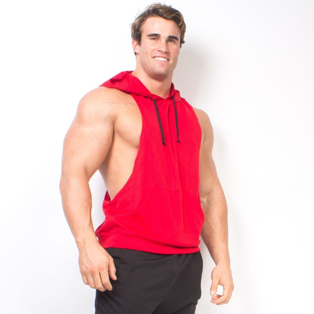 b8e06679 Red Dryfit Racerback Muscle Hoodie Stringer Dry Fit Gym Made In The USA  3010RUDY #OverTheLimitApparelcom #Hoodie