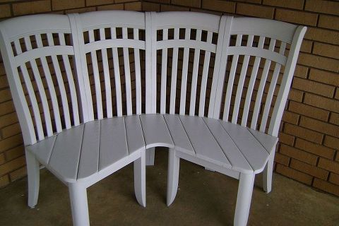 repurposed chairs into a cute corner bench, diy, painted furniture, repurposing upcycling, Voila So sweet