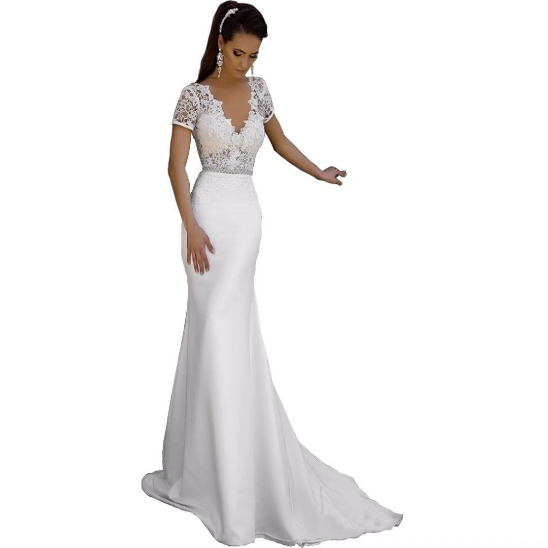 Chady satin mermaid beach wedding dresses for birde vneck lace