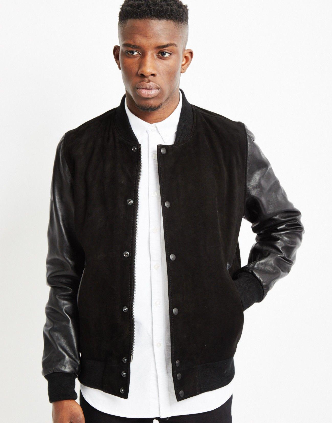 Schott Varsity Jacket Black   Shop men's jackets, coats and ...