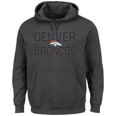 Men's Denver Broncos Majestic Charcoal Kick Return Pullover Hoodie
