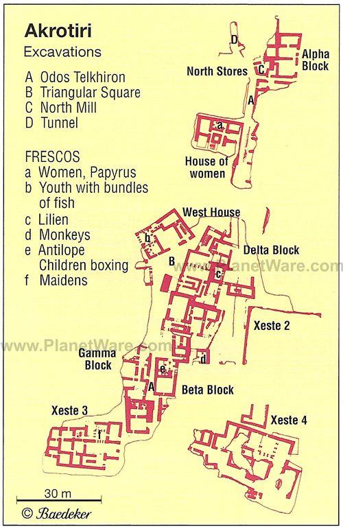 akrotiri AKROTIRI MAP The Ancient Minoans Pinterest Minoan