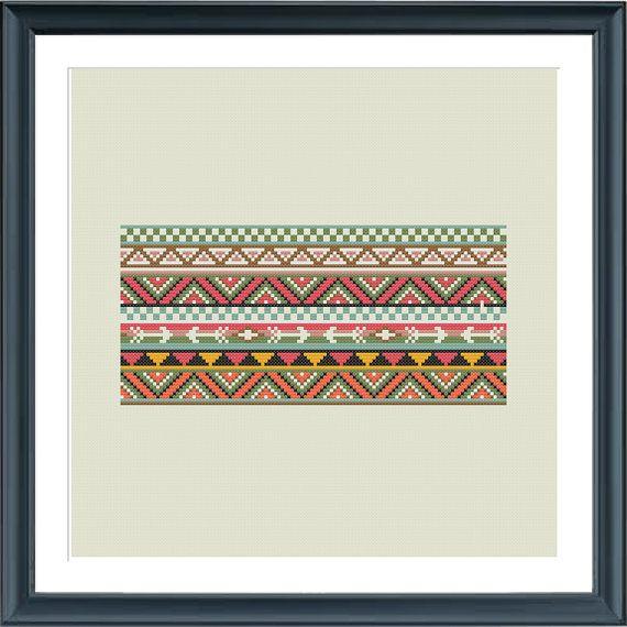 cross stitch borders pattern aztec inspired PDF by Happinesst