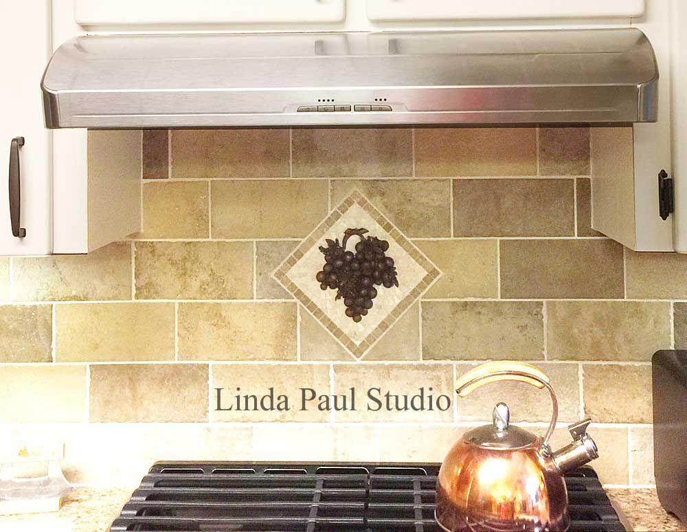 Vienna Grape Mini Mosaic Tile Backsplash Medallion Kitchen