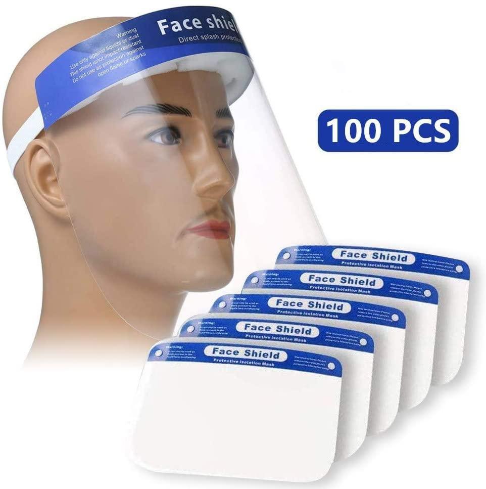 【US STOCK】PLESON 100PCS Plastic Face Shield Full Face