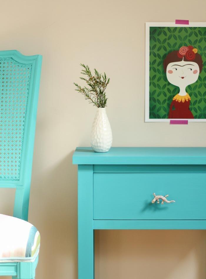Mesita noche azul aguamarina | Bazar Vintage & Chic: Muebles ...