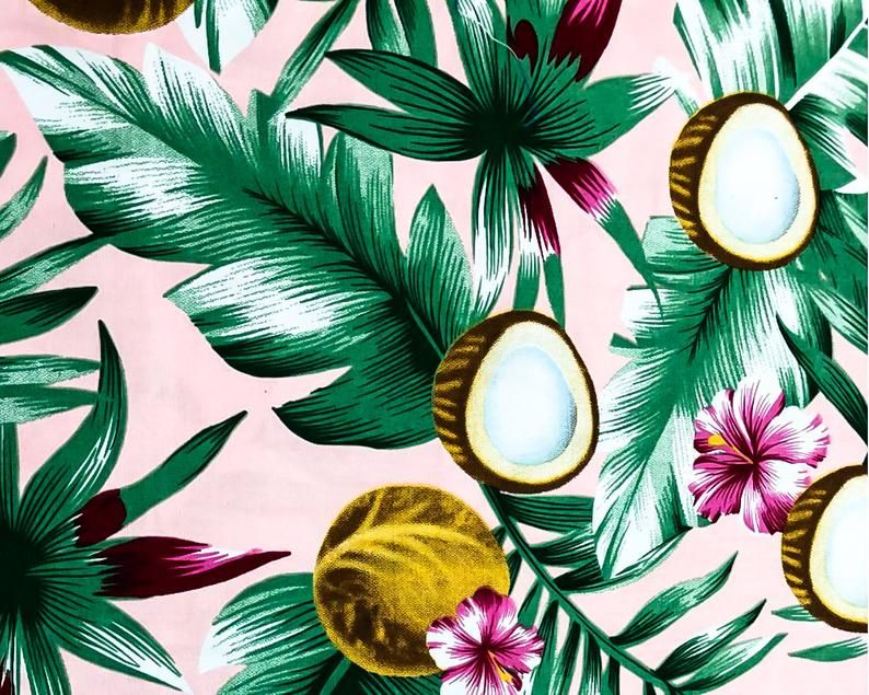 Cotton Fabric Coconut Fabric Floral Fabric Hibiscus Tropical Fabric Hawaiian Fabric Vintage Fabric By The Yard Mf0004 Hawaiian Fabric Tropical Fabric Floral Fabric