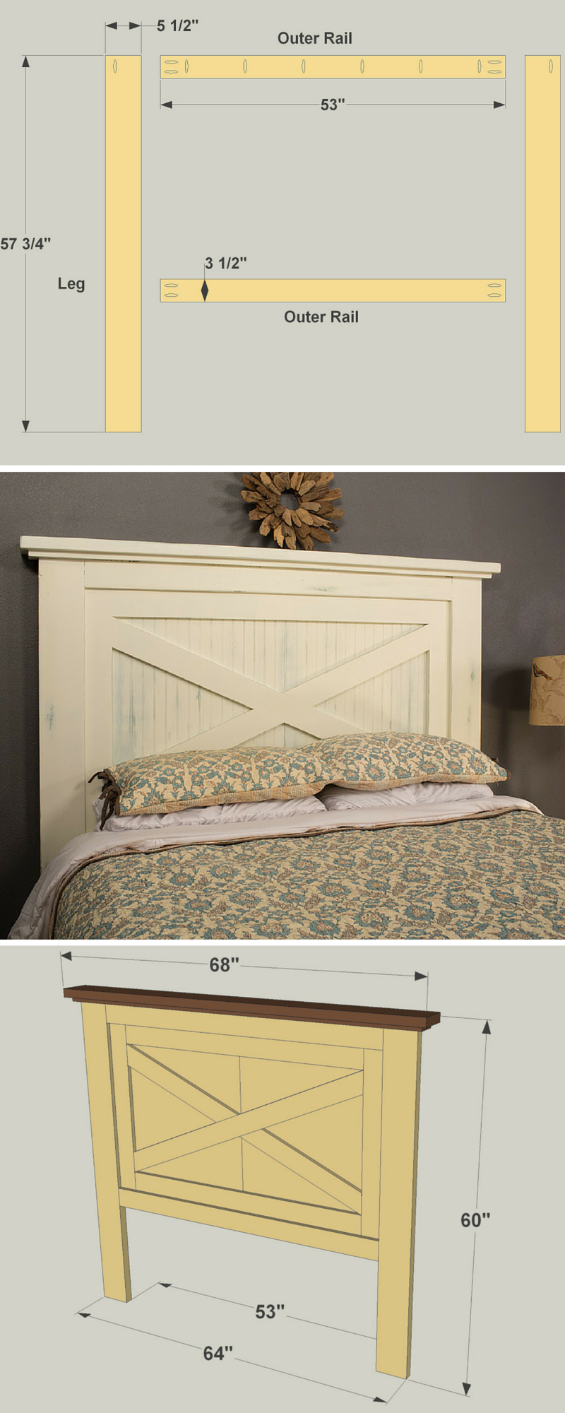 With its countrycasual style, this headboard can blend
