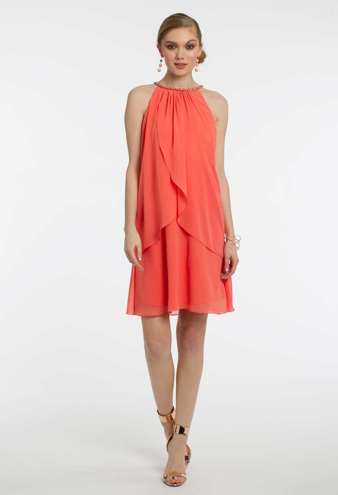 Bring a pop of color to any setting with this short cocktail dress