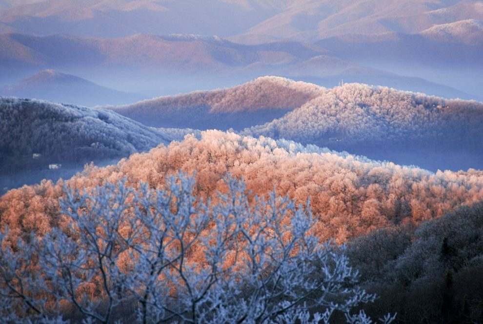 Picture Of Snow And Ice Covering Blue Ridge Mountain Trees