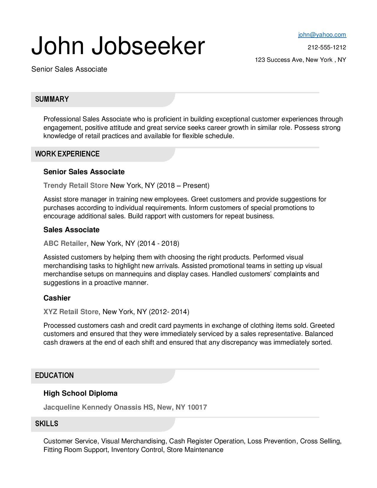 Retail Resume Examples Resume Downloads Retail resume