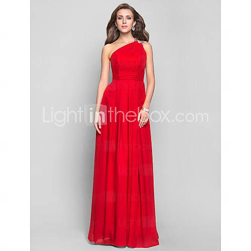 [USD $ 178.19] Vestido de Noite Comprido em Chifon (Um Ombro, 551342)