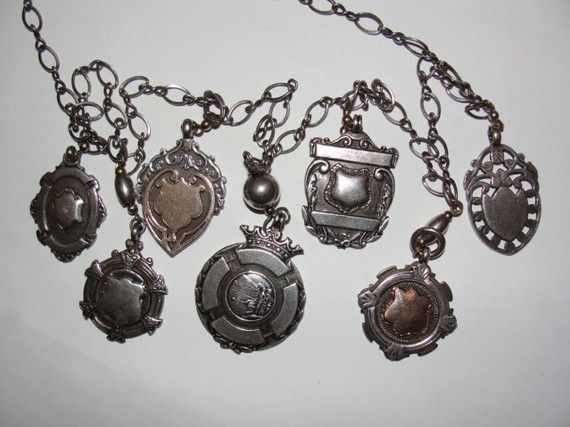 English Sterling and 14 kt Rolled Gold Victorian 7 Watch Fob Pendants Flapper Necklace