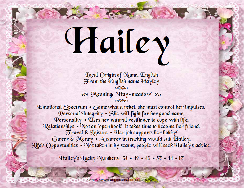 The meaning of the name - Hailey | Images | Pinterest | Zodiac and on job title, job search, job name ideas, job help, job family,