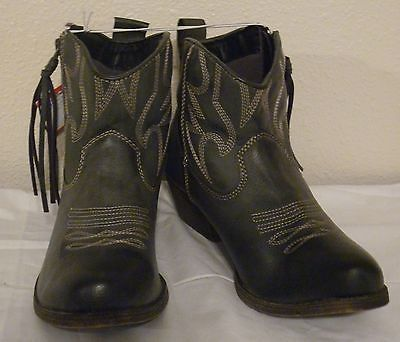 Cowboy Ankle Boots 7 5 Faux Leather Fringe Grey High Heel Zip Mossimo Kelsie | eBay