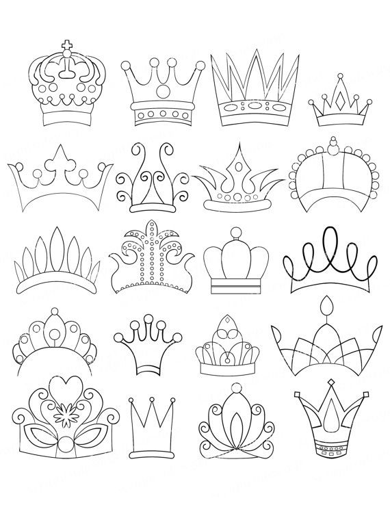 Set Of 20 Doodle Crowns Graphics Clipart Images Tiara Princess Queen