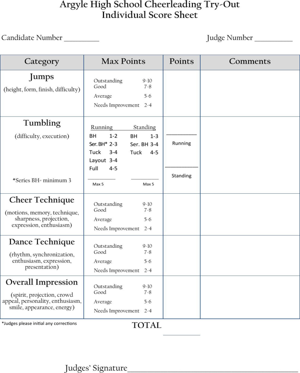 Cheerleading Tryout Score Sheet 1 Png 600 745 Pixels Cheerleading Tryouts Cheerleading Coaching Cheerleading