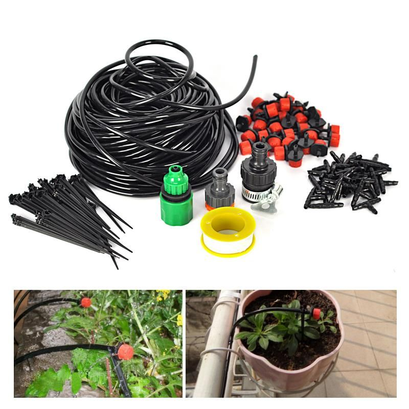 DIY 25M Micro Drip Irrigation Manual Self Plant Watering Garden Hose System