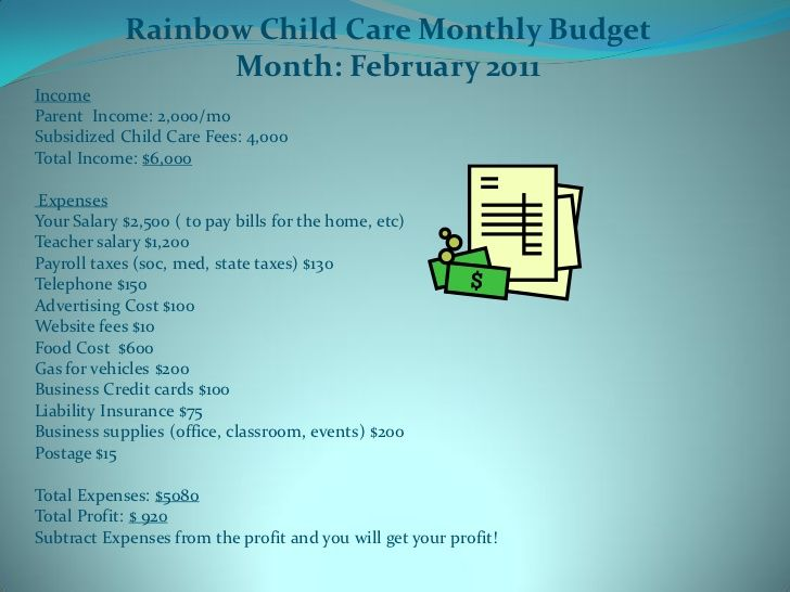 How to Effectively Manage Your Budget in your Childcare Business - sample small business budget