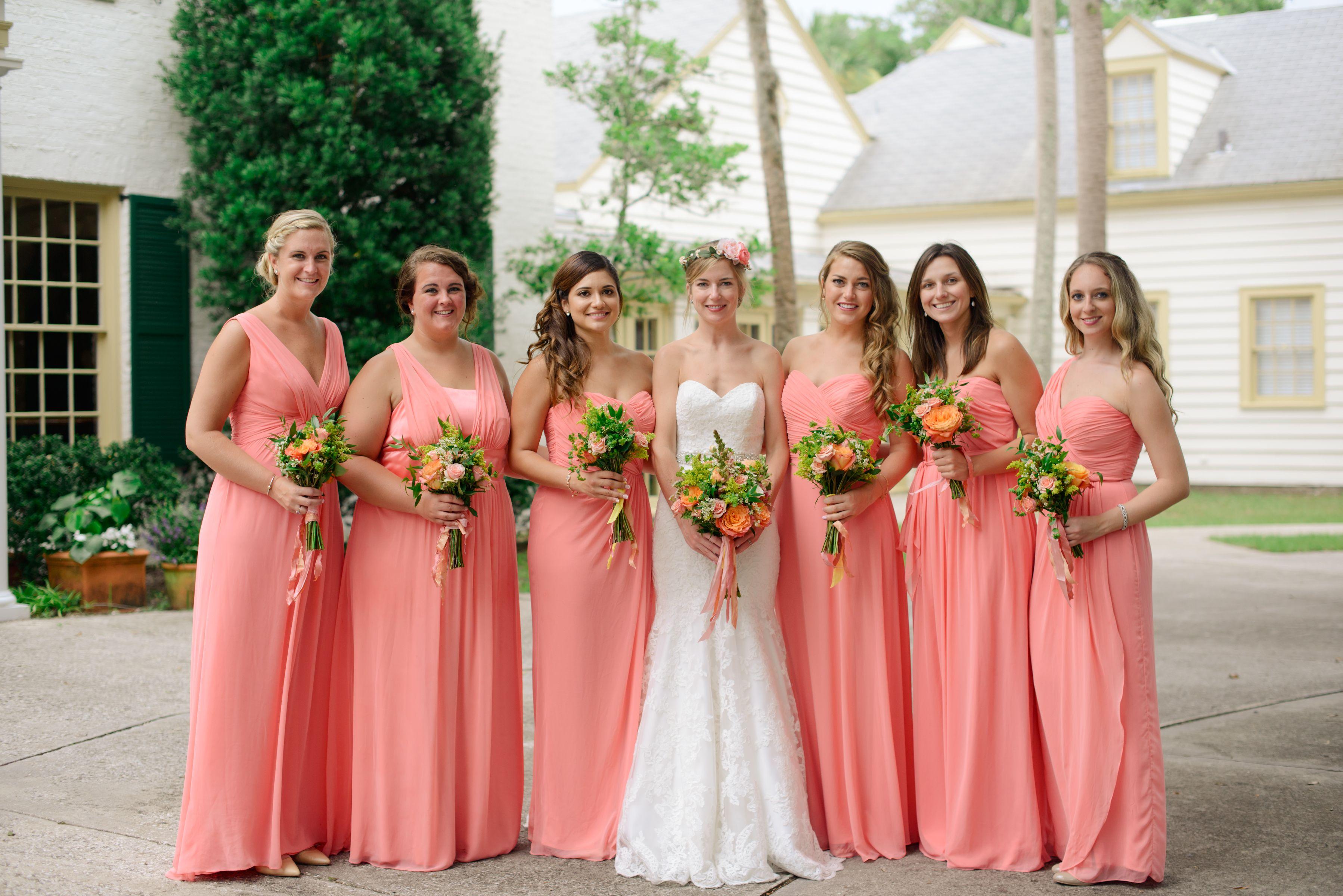 Salmon Bridesmaids Dresses Coral Bridesmaid Colored Wedding Color: Coral Pink Wedding Dresses At Websimilar.org