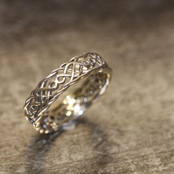 14k White Gold Celtic Wedding Band Unique Wedding By Lamoredesign 685 00 Celtic Wedding Bands Celtic Wedding Rings Wedding Rings Unique