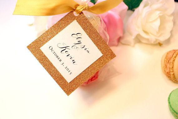 Gold Wedding Favor Tags Monogram By Rchidinvites