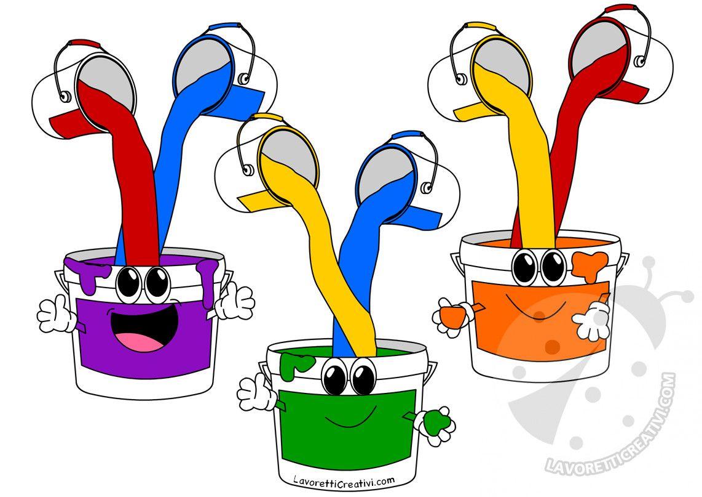 Barattoli Di Vernice Con I Colori Primari Rosso Giallo Blu E I Colori Secondari Verde Viola Arancione Ross Colori Primari Colori Scuola Materna Colori
