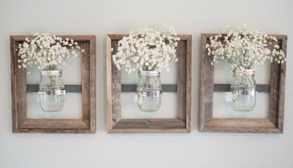 Mason Jar Wall Vase with Rustic Frame by DesignsbyMJL on ...
