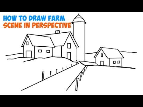 How To Draw Farm Scene Fall Spring Scene In Three Point Perspective In Easy Step By Step Tutorial For Beginners Perspective Drawing Cool Landscapes Flower Drawing Tutorials