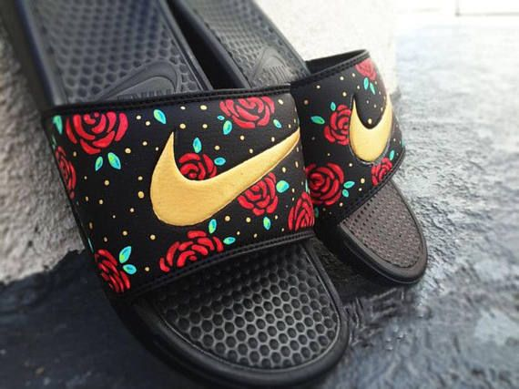 nike sandals with flowers