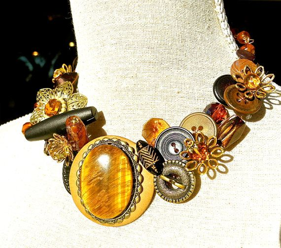 Statement Necklace Vintage Buttons Burnished Gold Jewelry by