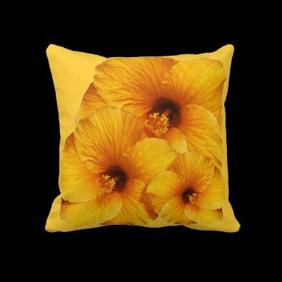#Orange #Hibiscus #Flower American MoJo #Pillows © #Bluedarkat - on #Zazzle!