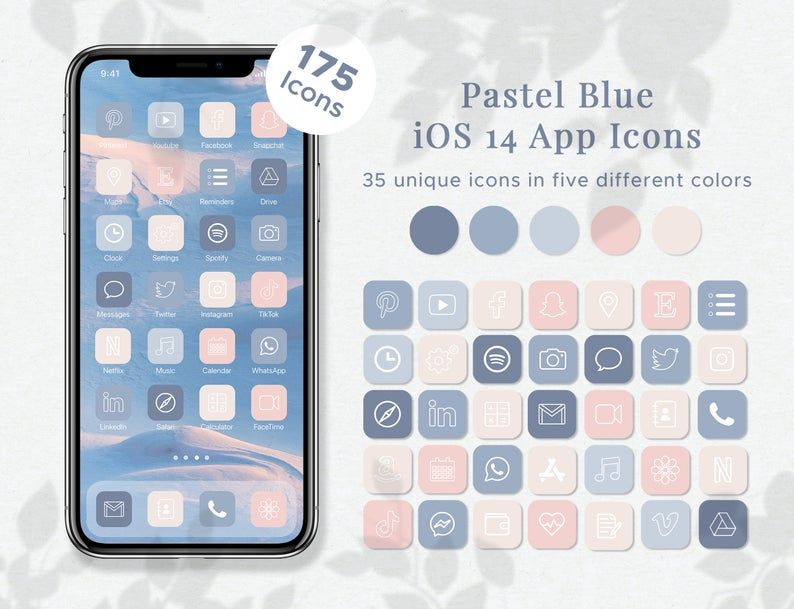 175 Pastel Blue iOS14 App Icons | 35 Icons in 5 Co