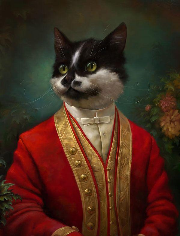 The Hermitage Court Waiter Cat Print by Eldar Zakirov.