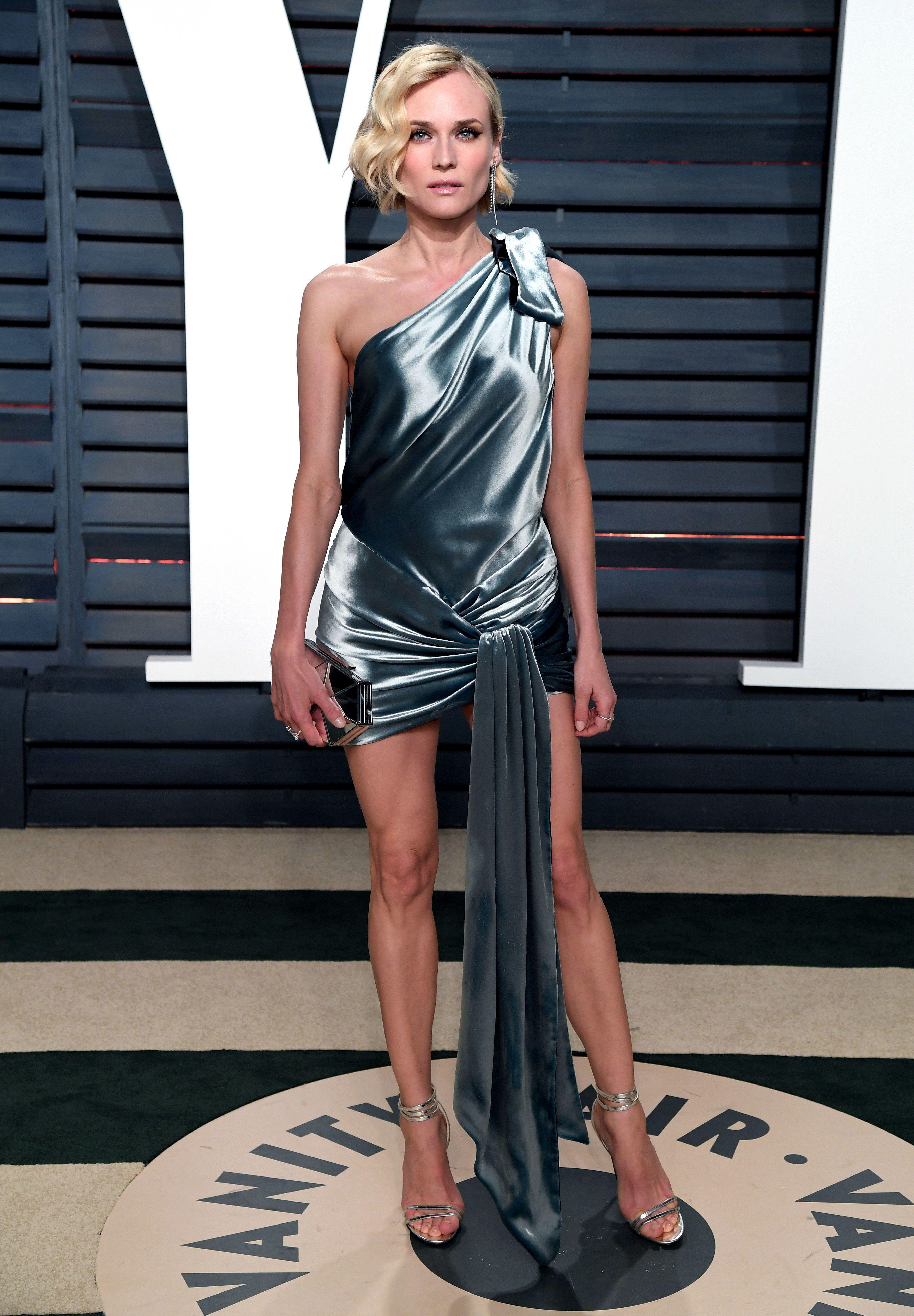 Long Satin Dress Diane Kruger Style Oscar Fashion Nice Dresses
