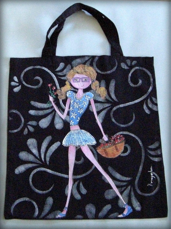 Bolsa tela asas de algod n pintado a mano compras paseo - Bolsas para pintar ...