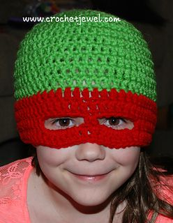 95d64c8de31 Ninja Turtle hat! Free Crochet Pattern on Ravelry. So cool
