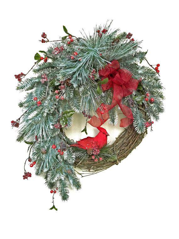 Red Cardinal Christmas Wreath Holiday Wreath Outdoor Wreath Christmas Decor Front Door Wreath Silk Wreath Grapevine Wreath Red Bird Christmas Wreaths Holiday Wreaths
