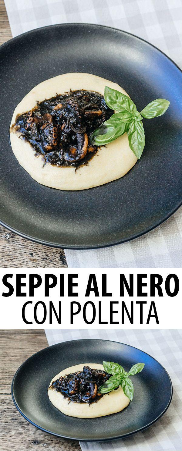 Rezept für Seppie al nero con polenta. Das Tintenfischragout mit cremig weißer Polenta, ist ein Klassiker der venezianischen Küche.