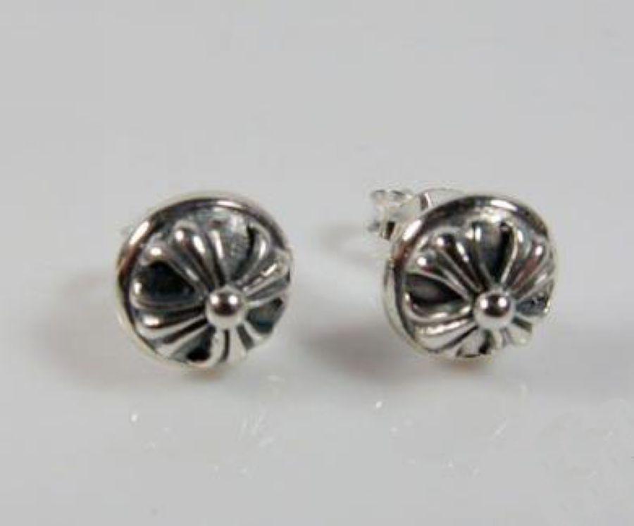 Chrome Hearts Earring Silver Cross Ball Stud