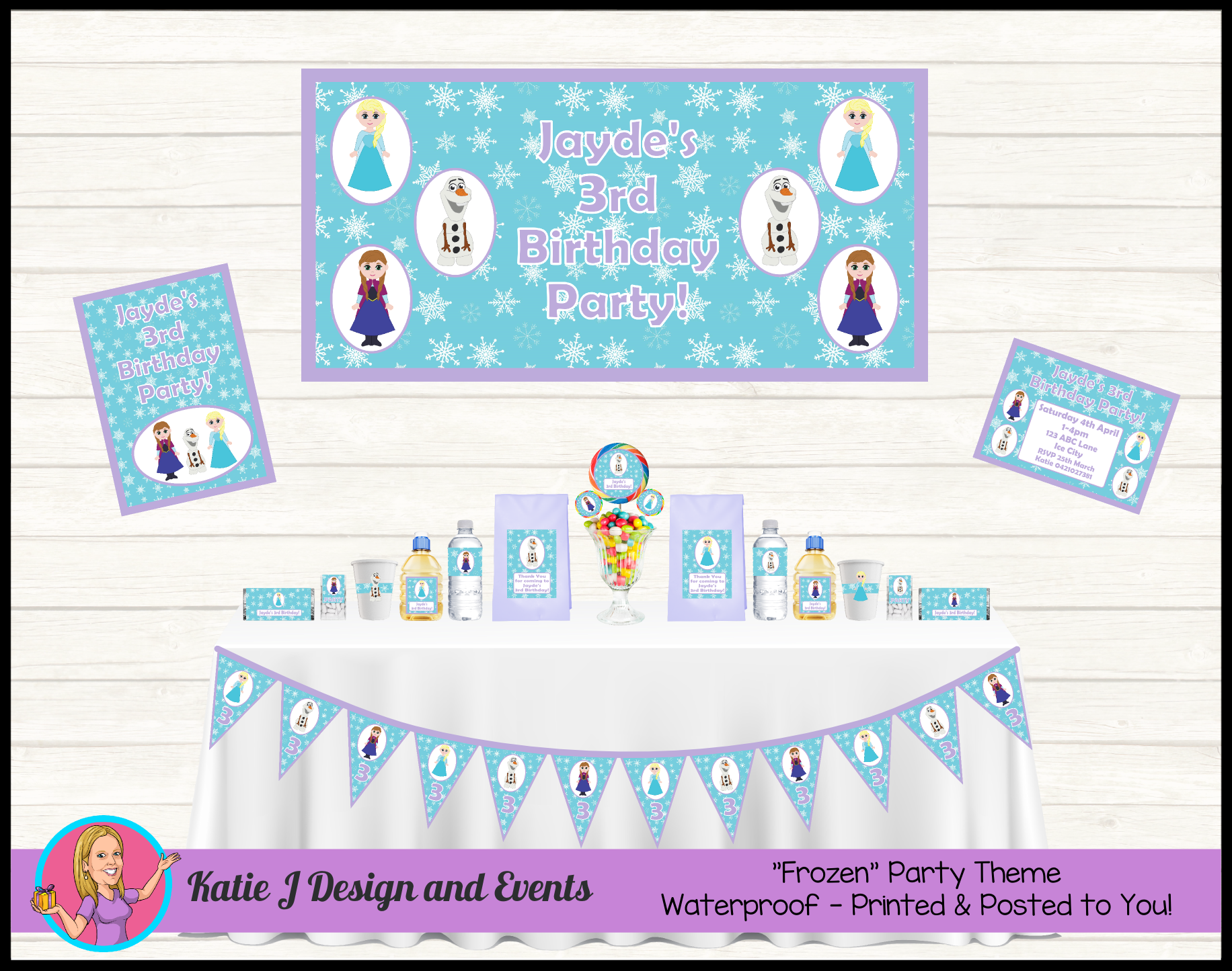 Frozen Party Personalised Birthday Decorations Supplies Packs Shop Online Australia Banners Bunting Wall Display Cupcake Also