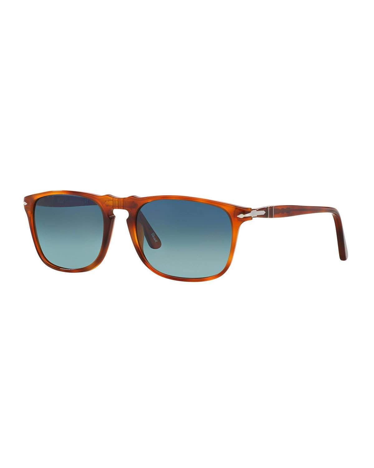 4e74a4f2fe1f PERSOL MEN'S FLAT-TOP SQUARE SUNGLASSES - GRADIENT POLARIZED. #persol