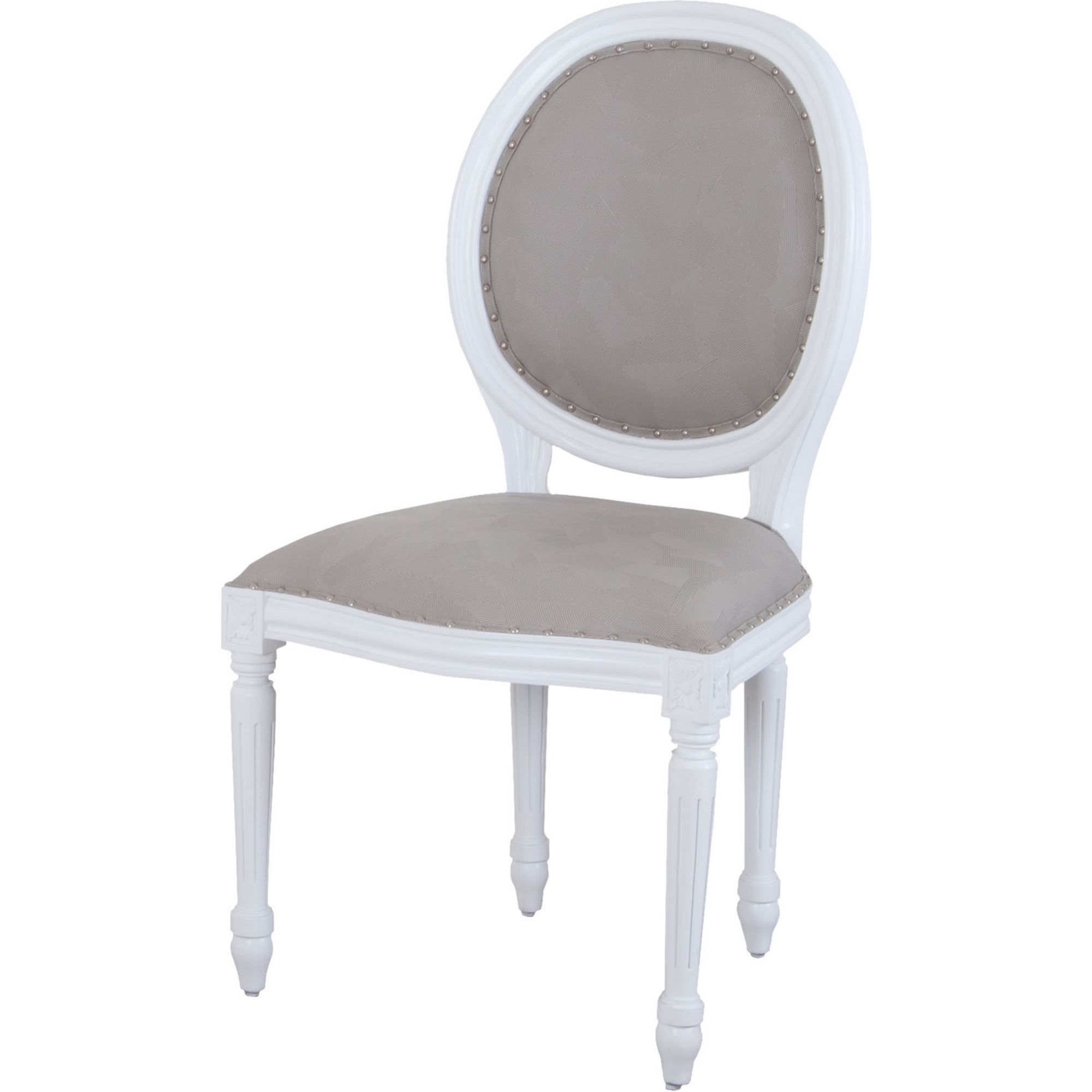 Round Back Dining Room Chairs: Viola Round Back Dining Chair In White W/ Grey Fabric By