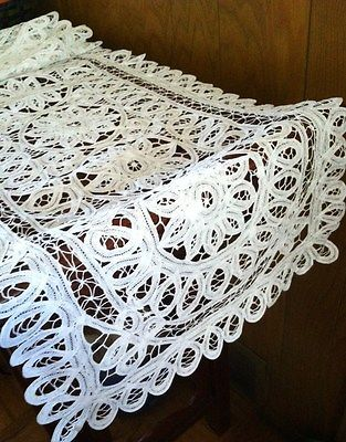 New 16x62 White All Battenburg Lace Roses Table Runner Cloth Dresser Piano Cover