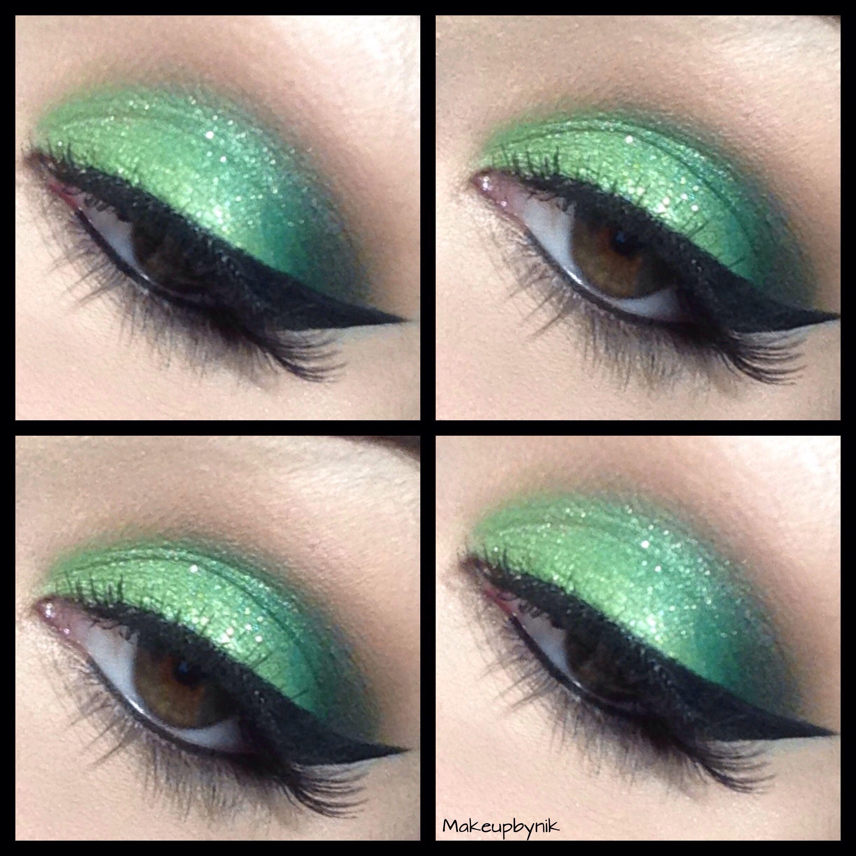 Bright green glitter eyeshadow using TNT cosmetics palette
