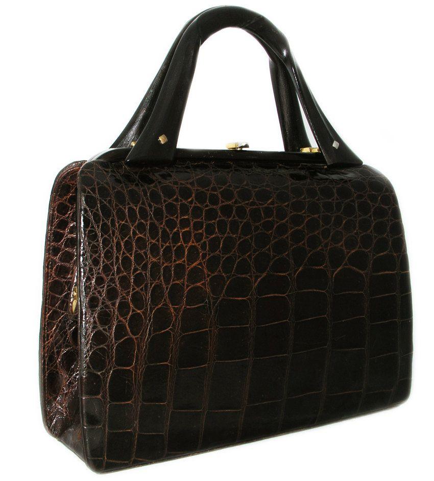34f1770922 UNIQUE Vintage Alligator Purse 1960 Crocodile Handbag Plastic Handles.   595.00