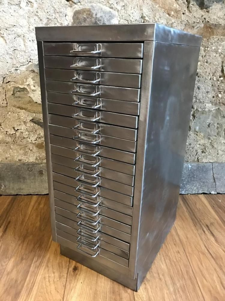 Vintage Industrial Stripped Metal 20 Drawer Filing Cabinet