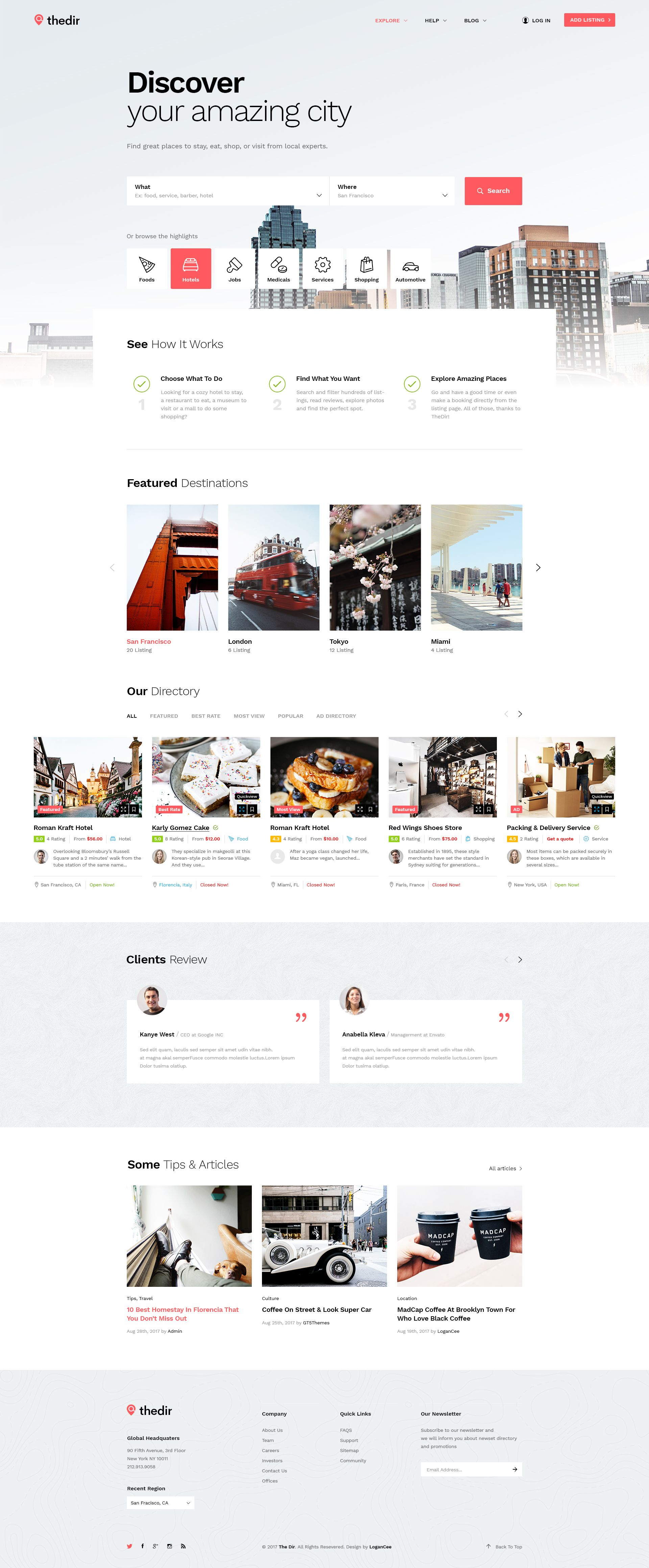 Thedir Unlimited Listing Directory Psd Template Web Layout Design Responsive Web Design Web Design Tips